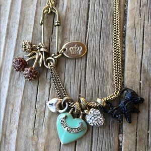 Juicy Couture Multi Charm Safety Pin Necklace!